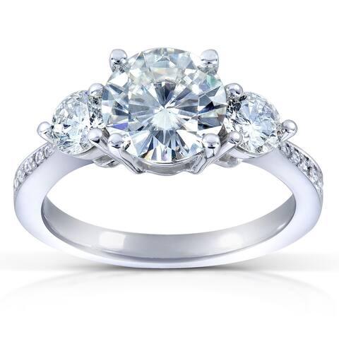 Annello by Kobelli 14k White Gold 2ct TGW Moissanite and Diamond 3-Stone Engagement Ring