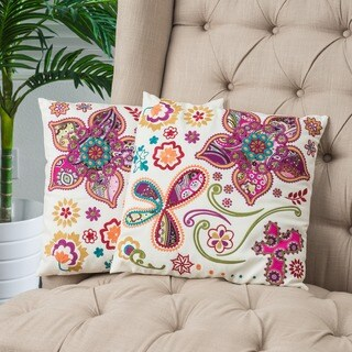 Ivory Paisley 18-inch Floral Pillows (Set of 2) by Christopher Knight Home