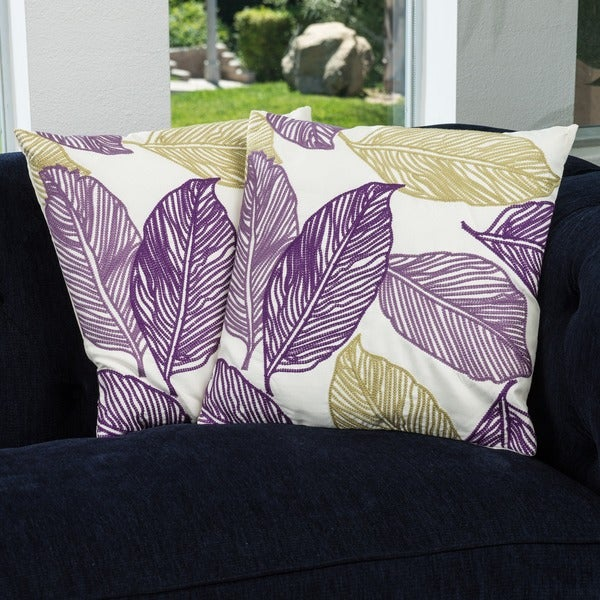 18-inch Linen Frawns Pillows (Set of 2) by Christopher Knight Home