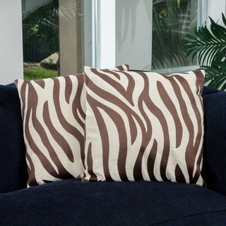 18-inch Tan Zebra Pillows (Set of 2) by Christopher Knight Home