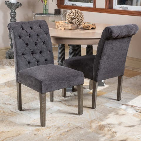 Dinah Roll Top Dark Grey Fabric Dining Chair (Set of 2) by Christopher Knight Home