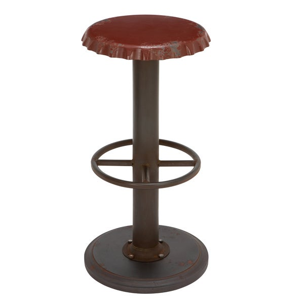 Shop Retro Antiqued Bottle Cap Bar Stool On Sale Free