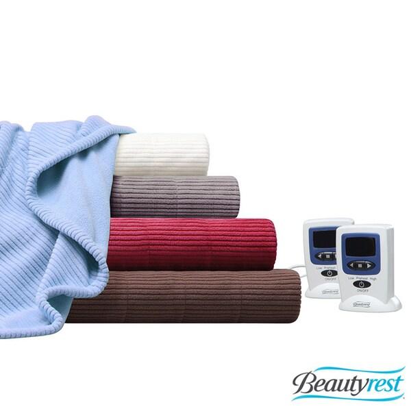 Beautyrest Solid Heated Electric Textured Micro Fleece Blanket