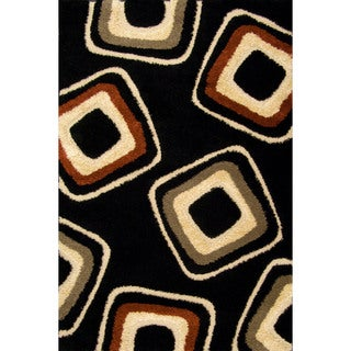 Somette Miracle Nucleus Black/ Beige Area Rug (7'10 x 9'10)