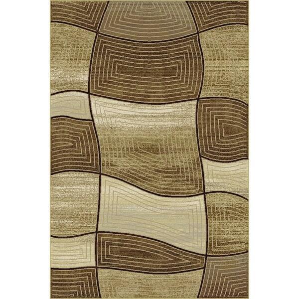 Somette Providence Wavy Blocks Gold/ Cocoa Area Rug (7'10 x 9'10)