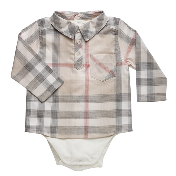 Burberry Infant Boy's New Nova Check Shirt Onsie