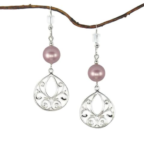 Handmade Jewelry by Dawn Rose Pearl Fancy Filigree Teardrop Sterling Silver Earrings (USA)