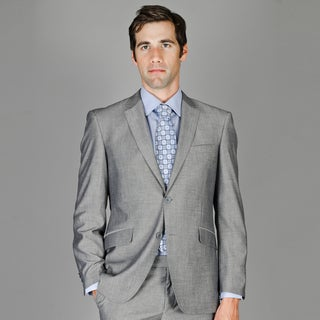 Men's Slim Fit Grey Sharkskin Wool and Silk Blend Suit