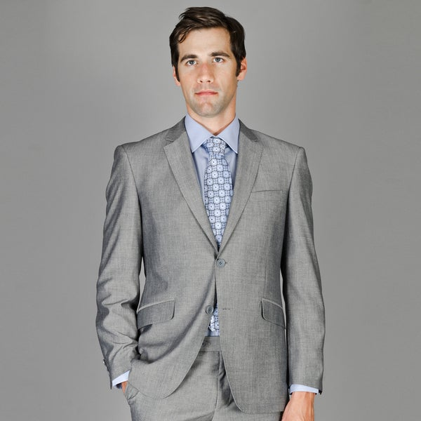 Men's Slim Fit Grey Sharkskin Wool and Silk Blend Suit - Free