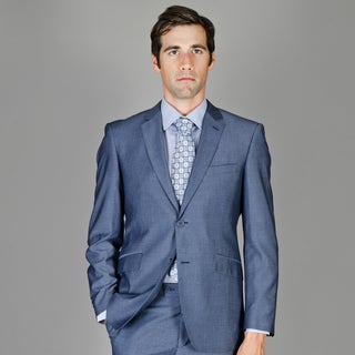 Shop Men S Dark Blue Sharkskin 2 Button Wool And Silk