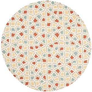 Martha Stewart Spring Wheel Mosaic Bougainvillea Cotton Rug (6'x 6' Round)