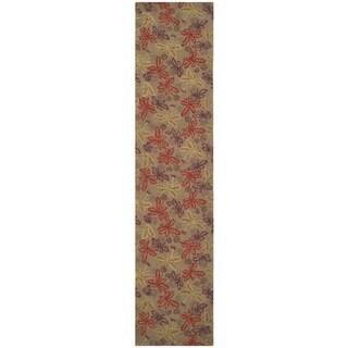 Martha Stewart Meadow Crimson/ Clover Wool Rug (2'3 x 10')