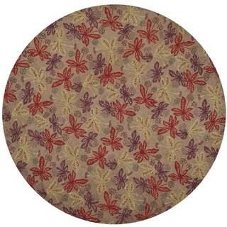 Martha Stewart Meadow Crimson/ Clover Wool Rug (4'x 4' Round)