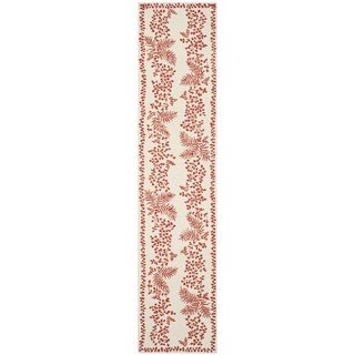 Martha Stewart Fern Row Red/ Dahlia Wool Rug (2'3 x 10')