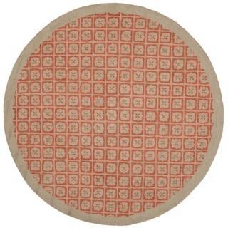 Martha Stewart Blossom Lattice Quince Red Wool Rug (6'x 6' Round)