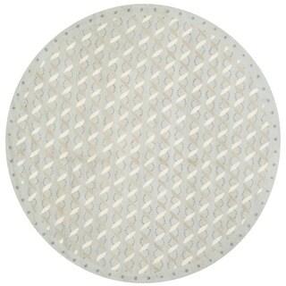 Martha Stewart by Safavieh Ribbon/ Pearl Stripe Bayou Grey Wool Rug (4'x 4' Round)