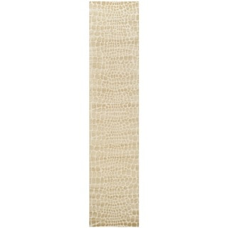 Martha Stewart Amazonia Meerkat/ Brown Silk Blend Rug (2'3 x 10')