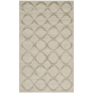 Martha Stewart Quatrefoil Mist Silk/ Wool Rug (3'9 x 5'9)