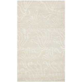 Martha Stewart Seaflora Pearl Silk/ Wool Rug (2'6 x 4'3)