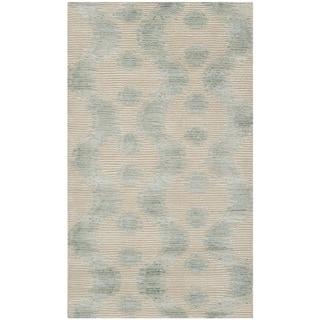 Martha Stewart Ikat Marsh Aqua Silk/ Wool Rug (2'6 x 4'3)