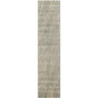 Martha Stewart by Safavieh Liana Blue/ Herron Wool Rug (2'3 x 10')