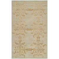 Martha Stewart by Safavieh Tracery Grey/ Beige Silk/ Wool Rug - 2'6 x 4'3