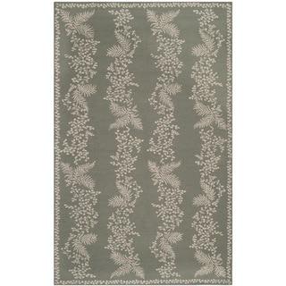 Martha Stewart Fern Row Tarragon/ Green Wool Rug (5'6 x 8'6)