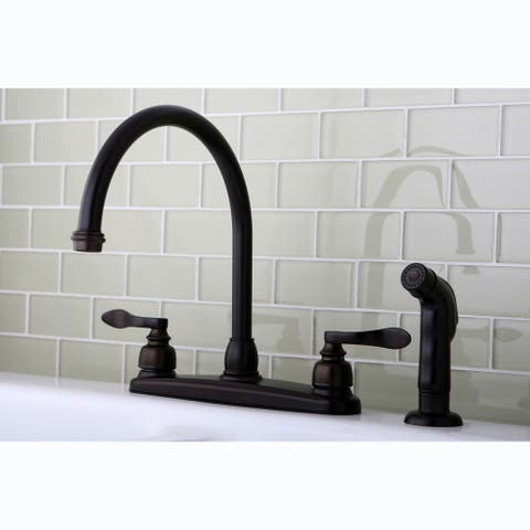 Oil-Rubbed-Bronze Brass Two-Handled Kitchen Faucet with Side Sprayer