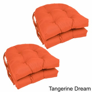 Blazing Needles U-shaped 16-inch Twill Dining Chair Cushions (Set of 4) (Option: Tangerine Dream)