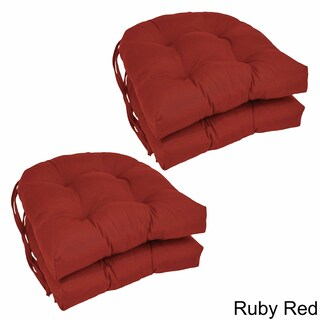 Blazing Needles U-shaped 16-inch Twill Dining Chair Cushions (Set of 4) (Option: Ruby Red)