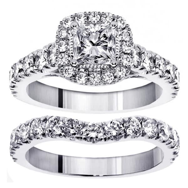 14k White Gold 3ct TDW Princess Diamond Bridal Ring Set Free