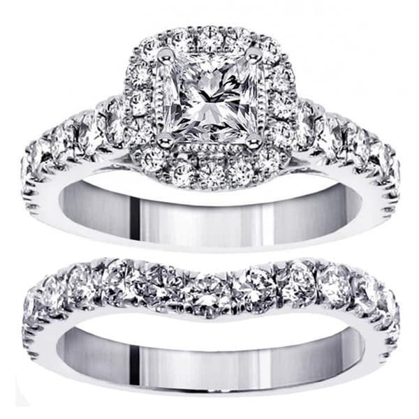 14k/ 18k White Gold 3ct TDW Princess Diamond Bridal Ring Set