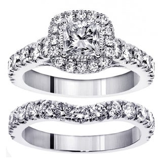 14k/ 18k White Gold 3ct TDW Princess Diamond Bridal Ring Set (G-H, SI1-SI2)