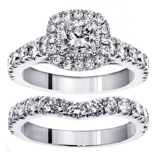 14k/ 18k White Gold 3ct TDW Princess Diamond Bridal Ring Set