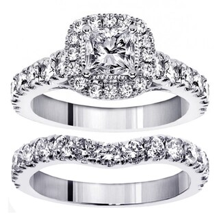 14k White Gold 3ct TDW Princess Diamond Bridal Ring Set