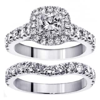 14k White Gold 3ct Tdw Princess Diamond Bridal Ring Set