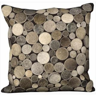 Mina Victory Natural Leather and Hide Circle Silver Throw Pillowby Nourison (20-Inch X 20-Inch)