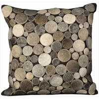 Mina Victory Natural Leather and Hide Circle Silver Throw Pillow (20-inch x 20-inch) by Nourison