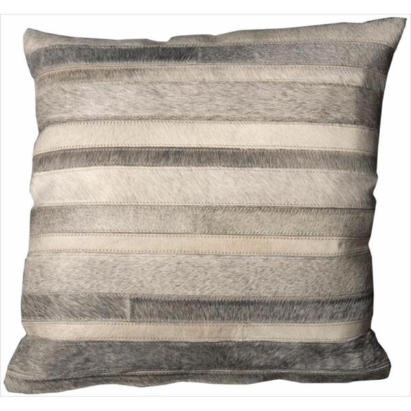 Mina Victory Natural Leather and Hide Grey Throw Pillow (20-inch x 20-inch) by Nourison