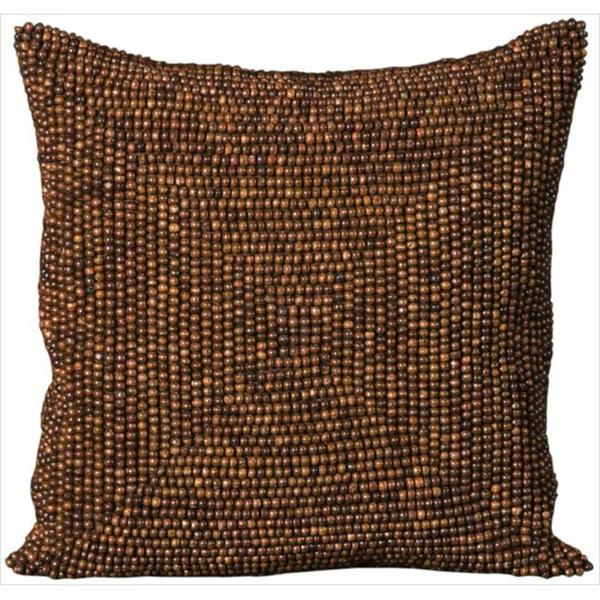 Mina Victory Wood Beads Brown Throw Pillow (16-inch x 16-inch) by Nourison