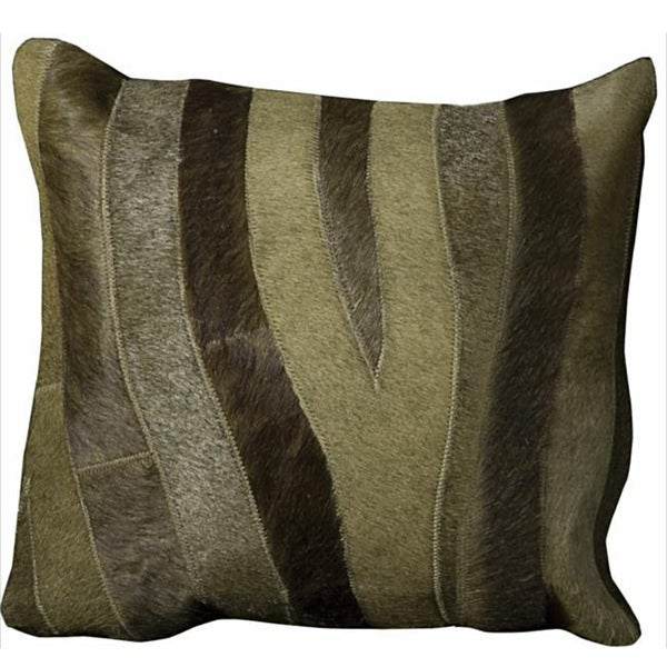 Mina Victory Natural Leather and Hide Zebra Green Throw Pillow (14-inch x 30-inch) by Nourison