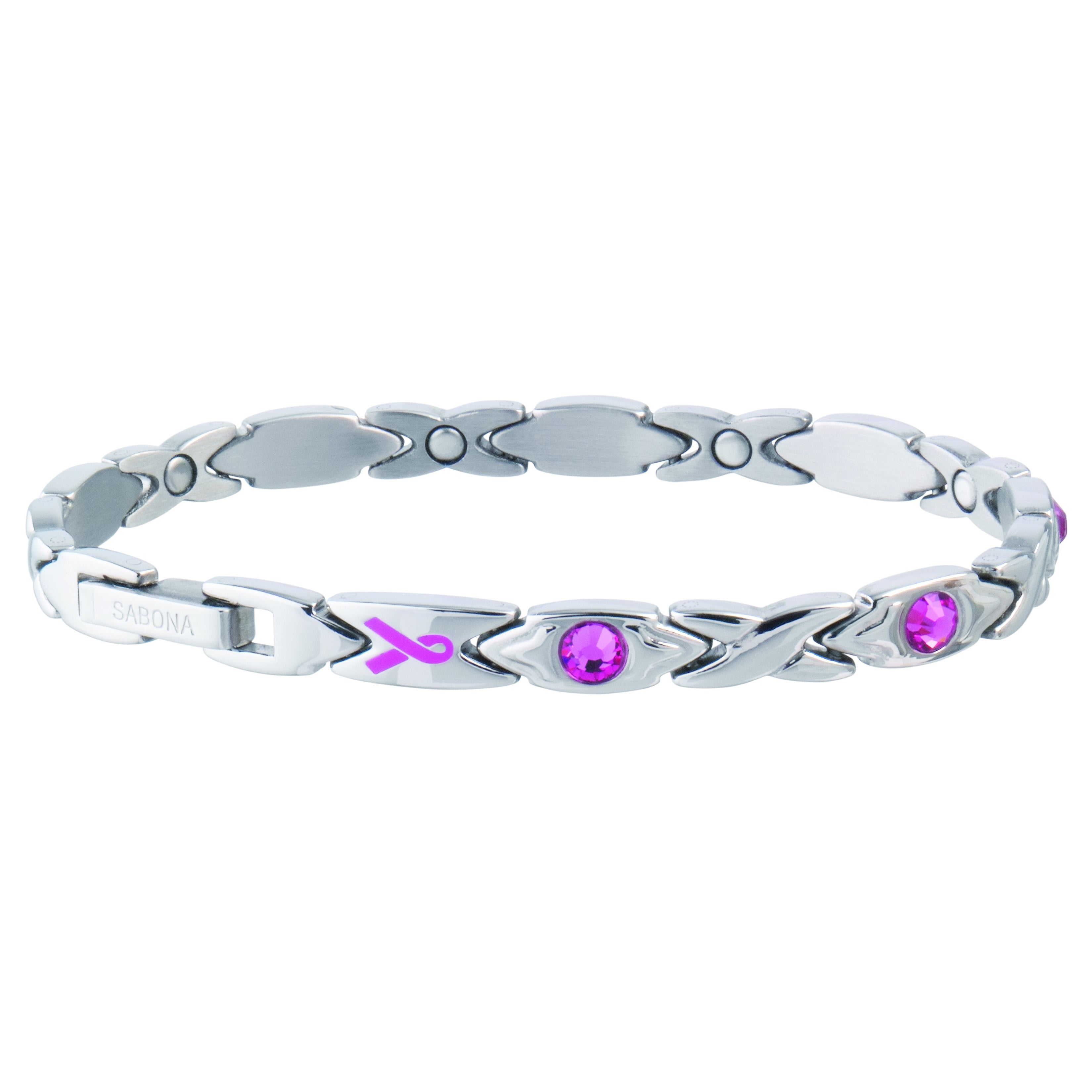 Sabona Courageous Pink Ribbon Magnetic Bracelet (Medium),...