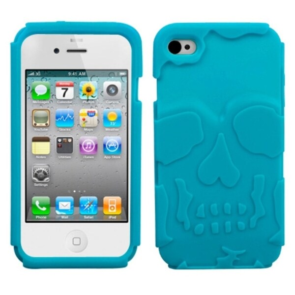 INSTEN Tropical Teal Skullcap Phone Case Cover for Apple iPhone 4/ 4S