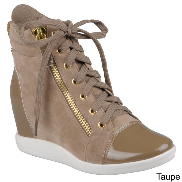 Hailey Jeans Co. Women's 'Micha-2' Lace-Up High-Top Wedge Sneakers with Zipper Accents