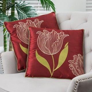 18-inch Red Tulip Pillows (Set of 2) by Christopher Knight Home
