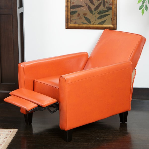 Darvis Orange Bonded Leather Recliner Club Chair by Christopher Knight Home & Darvis Orange Bonded Leather Recliner Club Chair by Christopher ... islam-shia.org