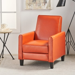 Christopher Knight Home Darvis Orange Bonded Leather Recliner Club Chair
