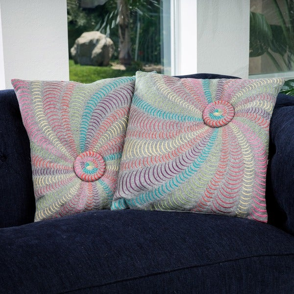 18-inch Grey Flannel Starburst Pillows (Set of 2)