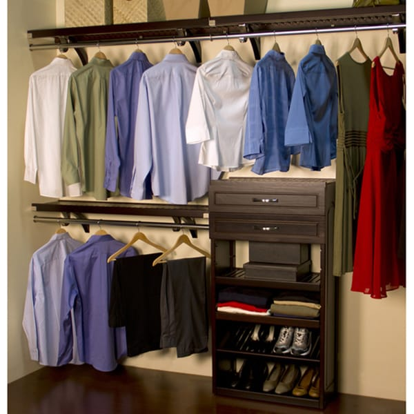 John Louis Home Woodrest 12 Inch Espresso Closet System