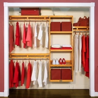 John Louis Home Collection Honey Maple 12-Inch Deep Simplicity Closet System